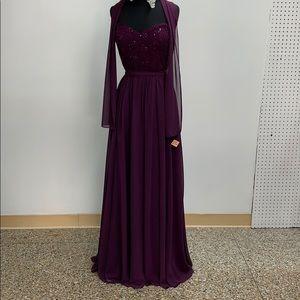 Mori Lee eggplant formal dress. Size 14.
